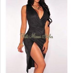 NWT Midnight Faux Suede Faux Wrap Slit Midi Dress